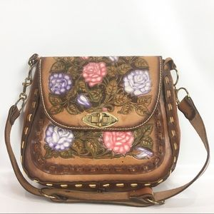 Vintage Floral Tooled Leather Purse Boho Crossbody